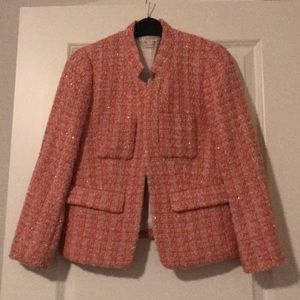J. Crew pink tweed jacket